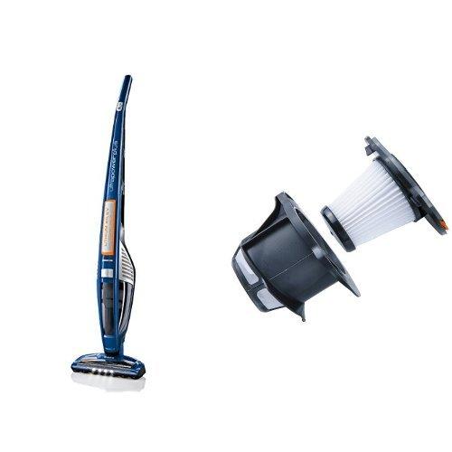 AEG ECO Li 60 UltraPower AG 5012 Handstaubsauger (beutellos, 25,2 V Lithium-Power-Akku, patentierte Selbstreinigung der Bürstenrolle, Elektrobürste, 4 LED-Frontlichter) Blau mit AEG AEF 142 Austauschfilter