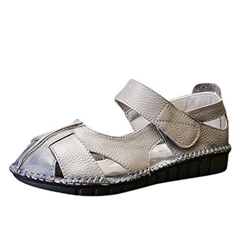 Makefortune  Damen Sandalen aus weichem Leder Bequeme Freizeitschuhe für Fußgänger Faulenzer Mokassins Sommersandalen mit Berührungsverschluss