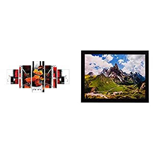 eCraftIndia 'Abstract Theme' Painting (Canvas Print, 127 cm X 60.96 cm, Set of 5) & 'Mountains View' Matt Textured Up Art Painting (Synthetic Wood, 36 cm X 28 cm) Combo