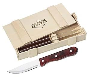 Cucina professionale 1066952806 BBQ coltelli da bistecca, Set di 6 in legno, in acciaio inox, 27,5 x 13 x 4,5 cm, 7 unità