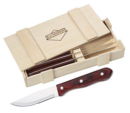 Küchenprofi Cucina professionale 1066952806 BBQ coltelli da bistecca, Set di 6 in legno, in acciaio inox, 27,5 x 13 x 4,5 cm, 7 unità
