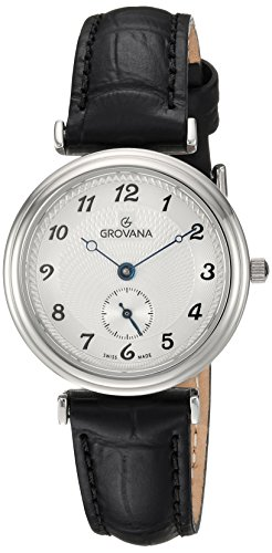 Grovana Women's Quartz Watch with Silver Dial Analogue Display and Black Leather Strap 3276.1532