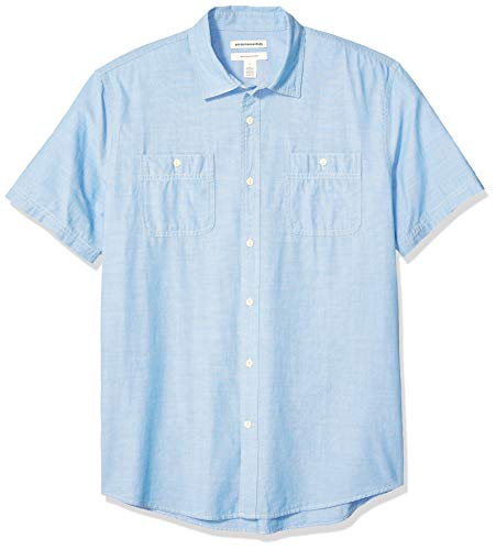 Amazon Essentials Regular-Fit Short-Sleeve Chambray button-down-shirts, Light Blue, US (EU XL-XXL) -