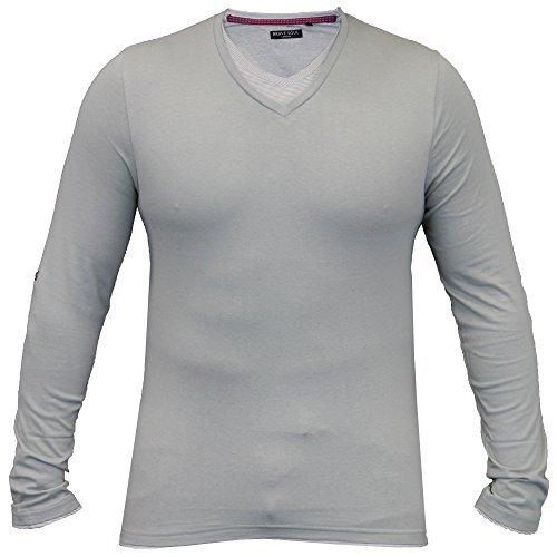 Herren Jersey Oberteil Brave Soul Langärmliges T-shirt Aufrollen Einfarbig V Ausschnitt Cotto Neu Grau - 69HEINRICH