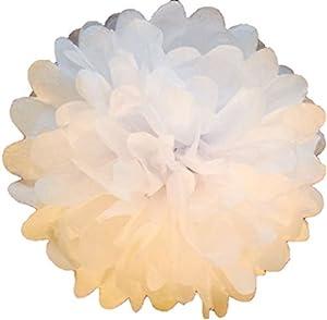 Pompones de papel de seda de 38,1 cm, paquete de 10 unidades, decoración de fiesta de boda de más de 20 colores para elegir pompones (blanco)
