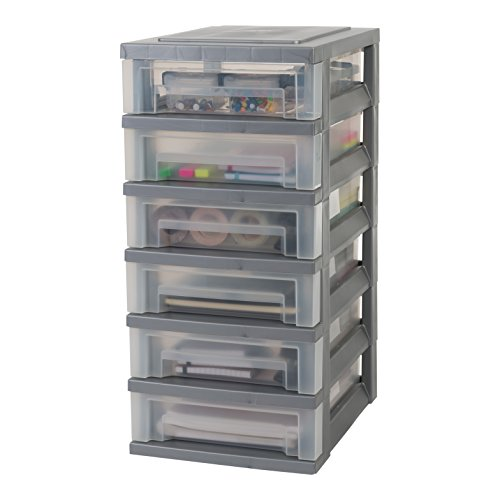 Iris Ohyama, Storage Chest on Wheels – Smart Drawer Chest SDC-360 – Plastic, Silver, 6 x 7 L, L39 x W29 x H62 cm