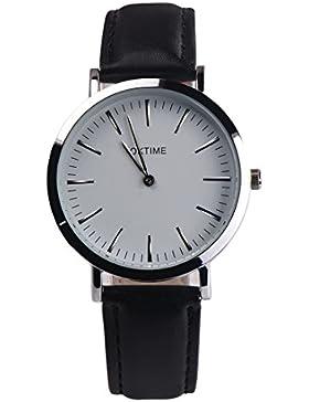 Souarts Damen Armbanduhr Einfach stil Retro Analoge Quarz Uhr mit Batterie Schwarz