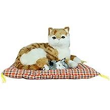 Dekofigur Katze braun mit Baby auf Kissen Dekorationsfigur Katzenfigur Hauskatze