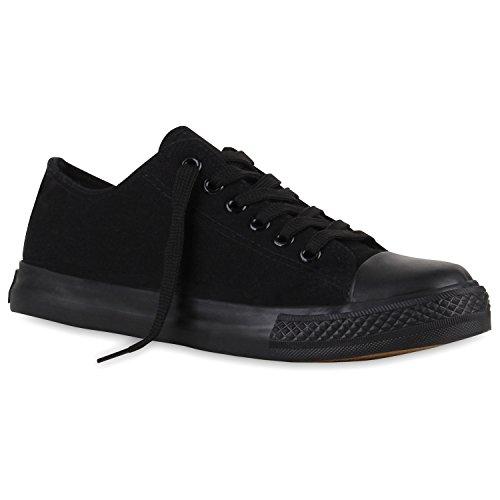 Stiefelparadies Flache Damen Sneakers Low Stoffschuhe Schnürer Viele Farben 110929 Schwarz Schwarz Arriate 45 Flandell