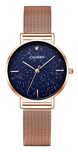 CADISEN Damen Uhren Modisch Wasserdicht Quarz Damenuhr mit Roségold Edelstahl Armband -