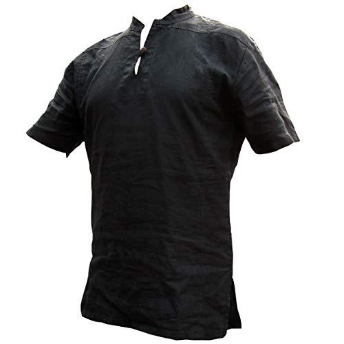 PANASIAM Fisherman Shirt, 100% Hemp, Black, M, SS - Hanf Hosen Für Männer