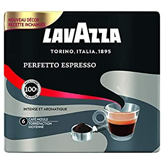 Lavazza Perfetto Espresso Café moulu Intensité 6 100% Arabica - 2 paquets de 250 g - lot de 2