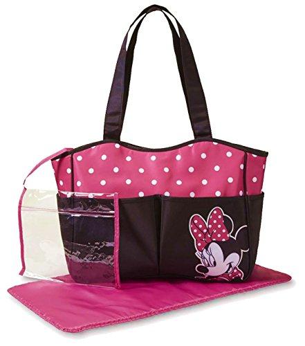 Disney Baby Minnie Mouse Mickey Maus Baby Wickeltasche Diaper Bag Tasche Mädchen Pink Schwarz mit Punkten (Wickeltasche Minnie Disney Maus)