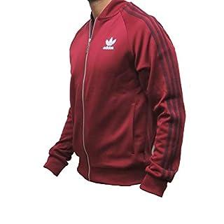 adidas Originals Tracksuit Jacket Mens Burgundy Red Track Top (Medium)