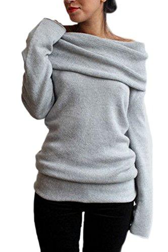 Frauen Casual Lange Ärmel Hemden Halden Kragen Reine Pullover. Grey S (Kragen Gefalteten Lange Ärmel)