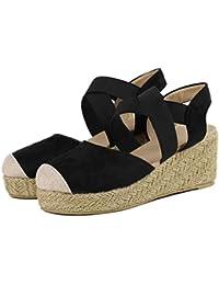33c1be0a5cb OverDose Sandales Espadrilles Compensées Femme en Suede Talon Bout Rond  Élastique Chaussures Cheville Été ...