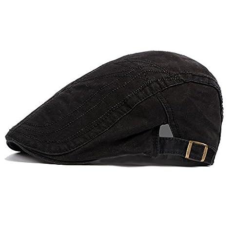 Casquette Plate De Hommes Garçons Classique Rétro Coton De Plein Air Chapeau De Soleil D'Été, Noir