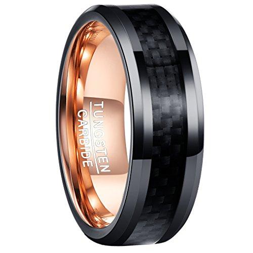 Nuncad Ring Damen Carbon Faser Design 8mm schwarz, Unisex Ring aus Wolframcarbid, perfekt für Hochzeit, Verlobung, Geburtstag, Geschenkidee, Größe 54 (14)