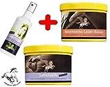 Super-Spar-Set Lederpflege, 500 ml Sattelseife, 500 ml Bienenwachs-Lederbalsam, 100 ml Mähnenspray, Pferdebüste von Reitsport SIBO