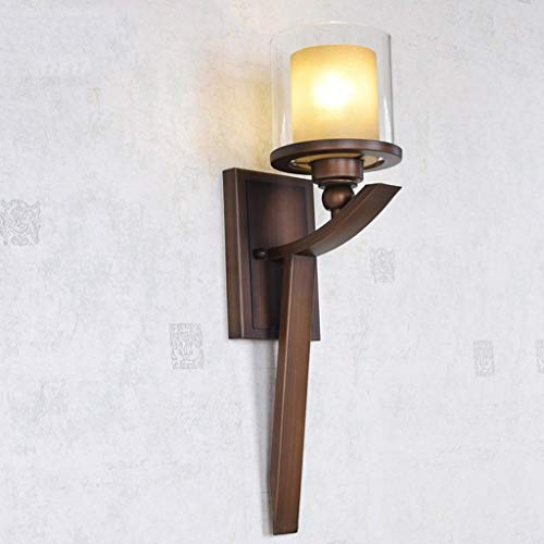 NMDCDH Wangde Manl American-Style IronWall Lamp, Bathroom Mirror Front Lamp, Transparent Glass Shade, Continental Retro Background Wall Wall Light E27 (Without Light Source)