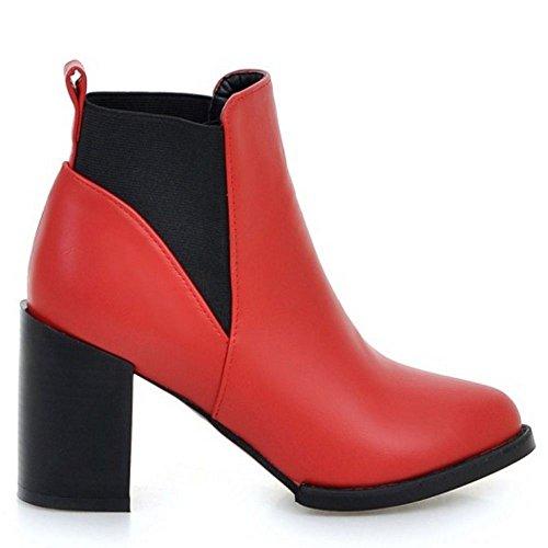 TAOFFEN Damen Sweet Pointed Toe Blockabsatz Knöchelriemchen Gemütlich Chelsea Stiefel (38 EU, Rot)