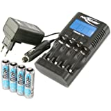 ANSMANN Powerline 4 Pro Chargeur pour 1 à 4 piles rechargeables AA, AAA + 4 maxE 2400 AA batteries