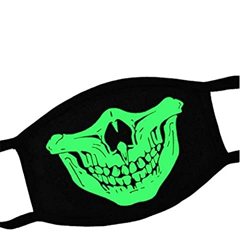ODN Lumineux Masque Unisexe Crâne Squelette Cosplay Créatif Bouche Visage Halloween Party Mask (1#)