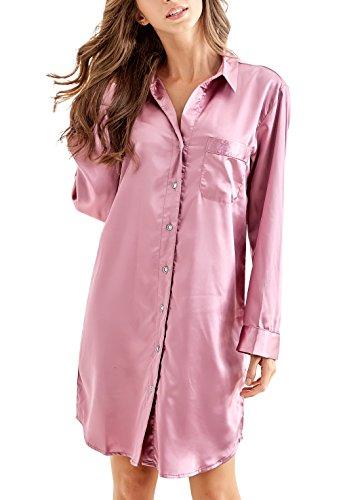 Seide Nachtkleid (Nachthemd Damen, Satin Nachtkleid Langarm Nachtwäsche mit Knopfleiste Schlafhemd Freizeitkleidung (Dunkelrosa, S))