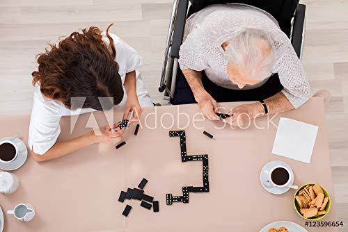 Womens Domino (druck-shop24 Wunschmotiv: Elder Woman Playing Domino Game with Her Nurse #123596654 - Bild auf Alu-Dibond - 3:2-60 x 40 cm / 40 x 60 cm)
