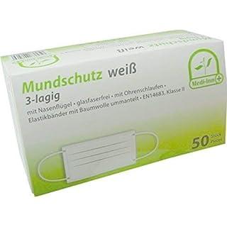 Mundschutz 3-lagig mit Nasenbügel glasfaserfrei mit Ohrenschlaufen 50 Stück von Medi-Inn (weiß)