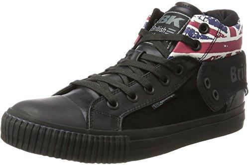 British Knights Herren ROCO Hohe Sneaker, Schwarz (Textile Black/Union Jack/Black 01), 45 EU