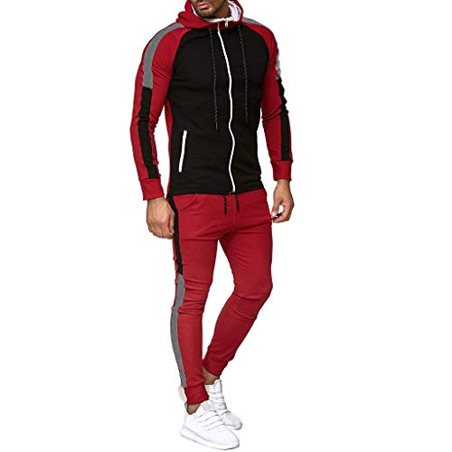 Setsail Herren Herbst Fashion Gradient Zipper Print Sweatshirt Top Hosen Sets Lockerer Komfort Sport Anzug Freizeit Trainingsanzug Geeignet für Indoor- und - Herren Kangaroo Kostüm