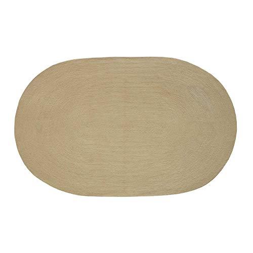 Leinen Oval Teppich (Homescapes Teppich 90 x 150 cm im Beige Handgeknüpft aus Baumwolle ovaler Wendeteppich für Wohnzimmer Schlafzimmer und Flur einfarbig handgewebter Retro Teppich im Natur Farbe)