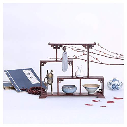 GWDecor Jahrgang Rotes Holz Regal Chinesisch Traditionelle Handarbeit Geschnitzt Retro Wenge Möbel Creative Home Dekor Antik Schmuck Storage