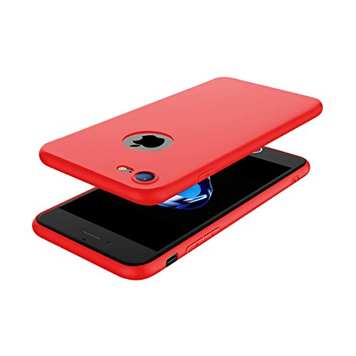Minto Hülle für iPhone 7 Plus / iPhone 8 Plus - Slim TPU Soft Touch Silikon Cover Case Handy Schutzhülle - matt blau Rot -i8+
