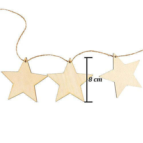 Keriber 20 Pieces Wooden Star Hanging Christmas Ornaments with Twine for Festival Decoration,DIY Project Or Wedding