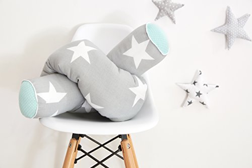 KraftKids Bettrolle große weiße Sterne auf Grau und weiße Punkte auf Mint