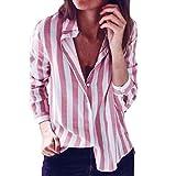 VRTUR Damen Gestreift lose V-Ausschnitt Gedruckt Shirt Sweatshirt Pullover Top übergroßen Shirt T-Shirt