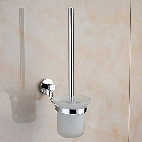 Finamente pulidas de latón sólido de fondo redondo baño aseo portacepillos accesorios de cuarto de baño y wc Kit de cepillo
