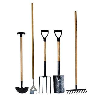 Simpa® 5PC Carbon Steel Garden Tool Set - Spade, Fork, Rake, Hoe & Edging Iron - Heat Treated Carbon Steel Heads with Hammer Tone Finish - Ash Wood Handles - Heavy Duty Set - Quality Craftsmanship