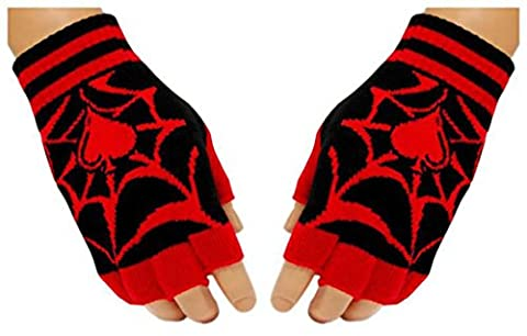 Black Fingerless Gloves Spider Web for