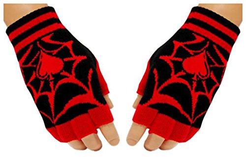 Schwarze Fingerlose Handschuhe Spinnennetz für Teens (Spinnennetz Fingerlose Handschuhe)