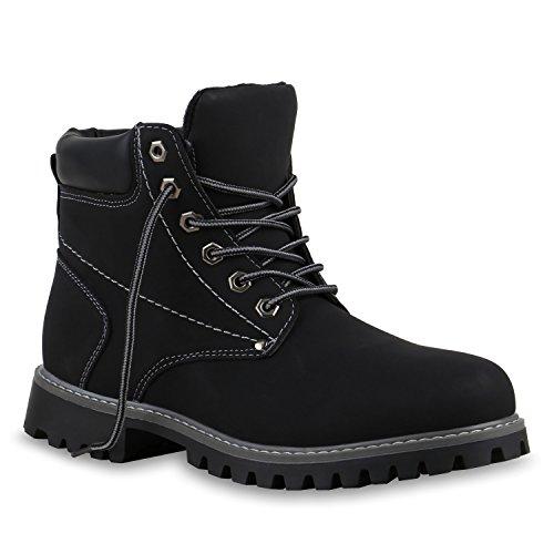 UNISEX Gefüttert Damen Herren Worker Boots Outdoor Schuhe Profil Sohle Schwarz Grau