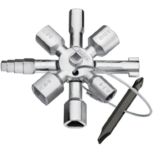 Knipex Tools 00 11 01 Twin Key Universal Schaltschrank Schlüssel, Chrom