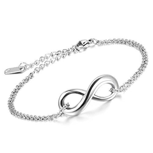Cupimatch Edelstahl Damen Herren Armband, Retro Infinity Unendlichkeit Lieben Zeichen Fußkettchen Panzerarmband Armreifen Armkette, 23cm Verstellbaren Größen, silber
