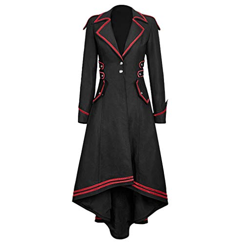 Punk Mantel Damen Lange Jacke Gothic Steampunk Mit Kapuze Graben Piebo Frauen Mittelalter Langarm Smoking Gehrock Retro Mittellang Mantel Kostüm Cosplay Uniform Halloween Weihnachten Party Kleidung (Pitbull Weihnachten Kostüm)