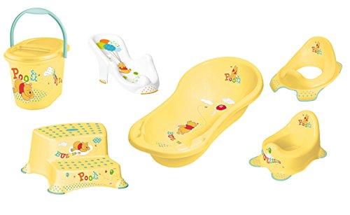 6er Z Set Winnie Pooh gelb Badewanne XXL 100 cm + Badesitz + Töpfchen + WC Aufsatz + Hocker zweistufig + Windeleimer Neu