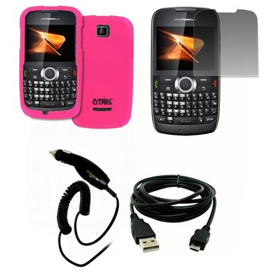 EMPIRE Hot Pink Rosa Gummierte Harte Case Tasche Hülle Cover + Displayschutzfolie Film + Auto Charger (CLA) + USB Datenkabel Data Cable for Boost Mobile Motorola Theory X430 Boost Mobile Motorola