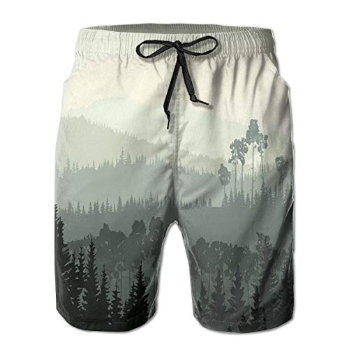 jiger Men Swim Trunks Beach Shorts,The Panorama of A Valley and A Mystic Forest of Pine Trees Egg Shell and Sage Green,Quick Dry 3D Printed Drawstring Casual Summer Surfing Board Shorts L Sage Green Lace
