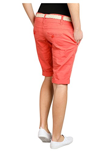Fresh Made Damen Bermuda-Shorts in Pastellfarben mit Flecht-Gürtel   Elegante kurze Hose im Chino-Style Orange